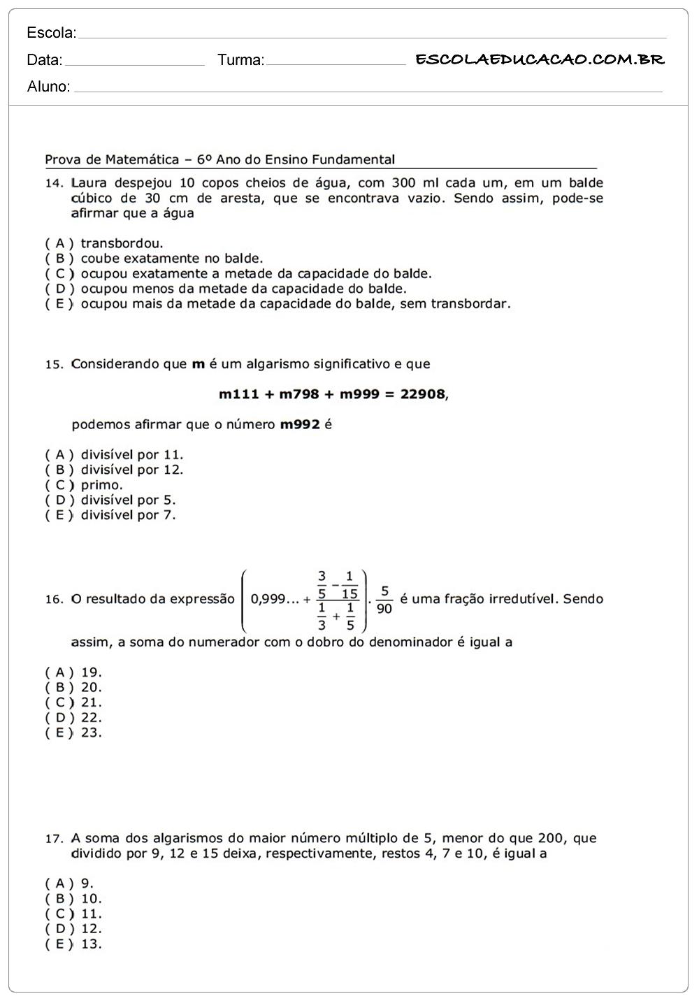Atividades de Matemática 6º ano responda as questões