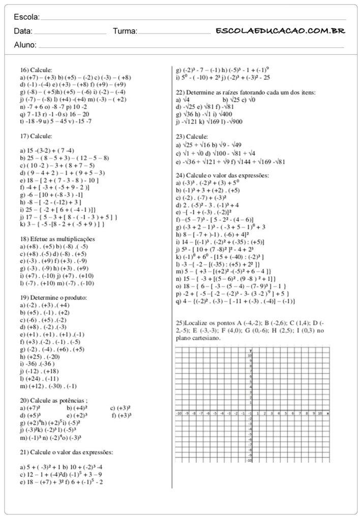 Atividades de Matemática 7º ano calcule as questões