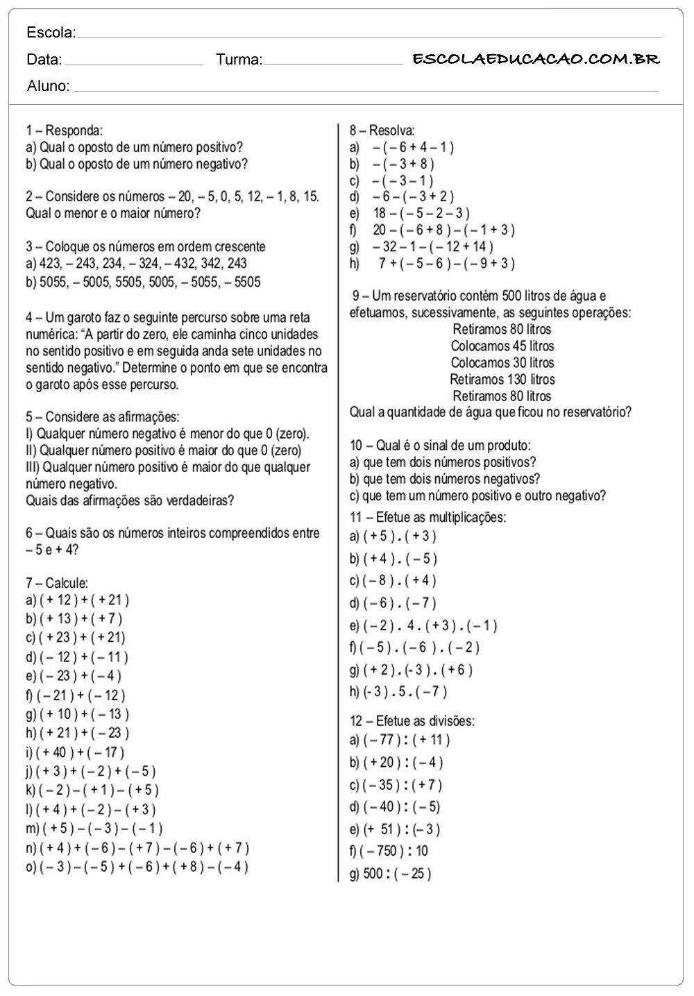 Atividades de Matemática 7º ano resolva as questões