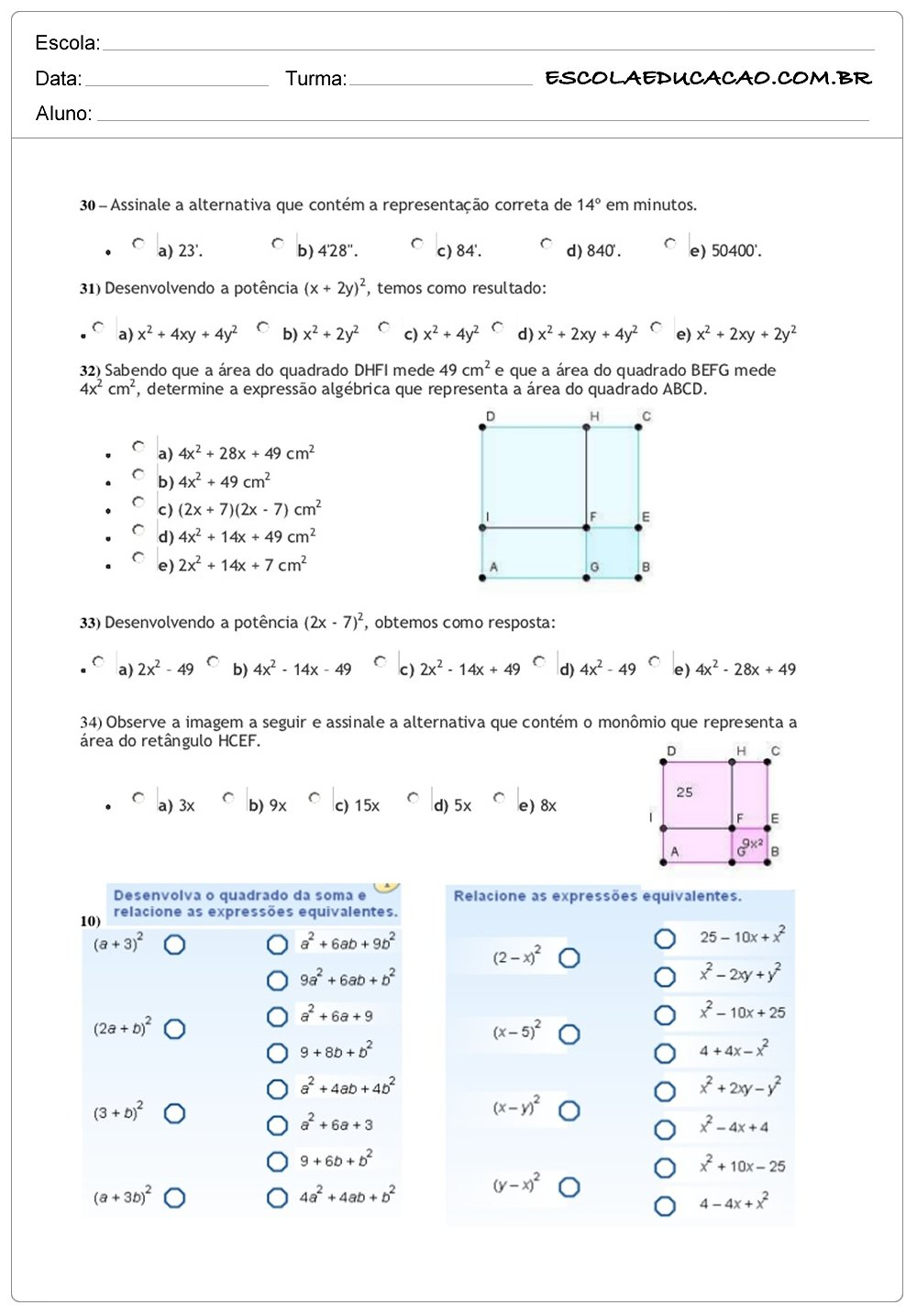 Atividades de Matemática 8º ano assinale a alternativa