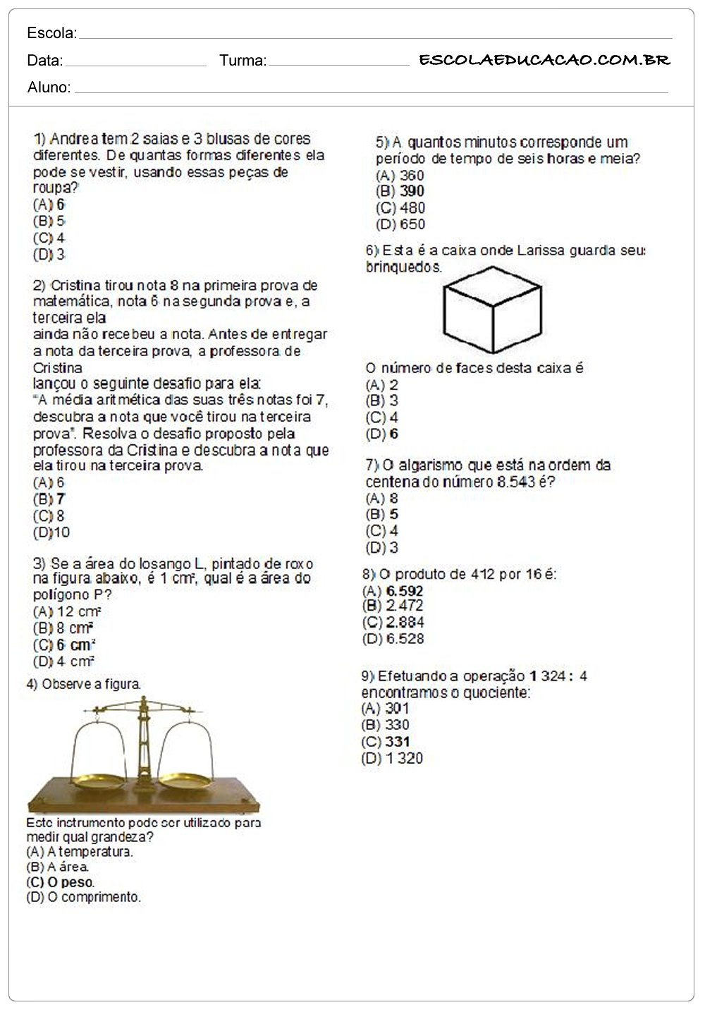Atividades de Matemática 8º ano resolva
