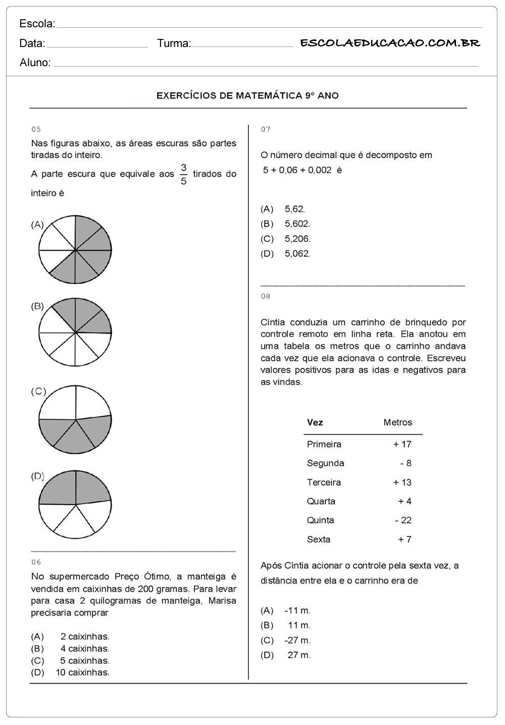 Atividades de Matemática 9º ano exercícios