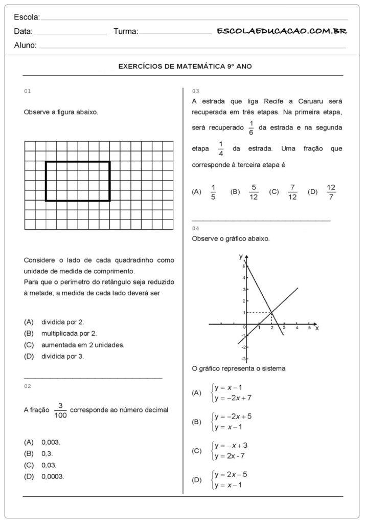Atividades de Matemática 9º ano observe a figura