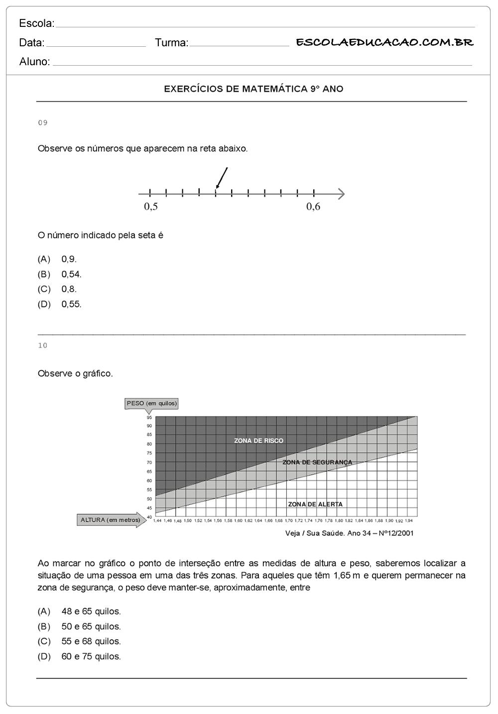 Atividades de Matemática 9º ano observe os números
