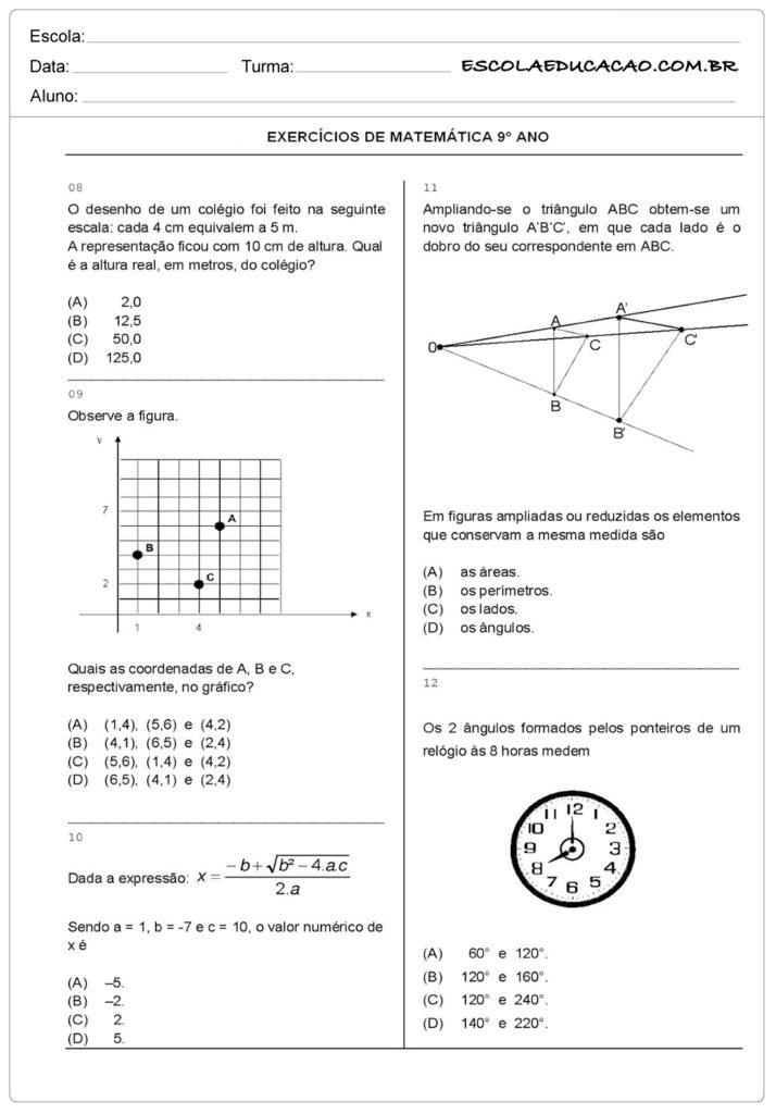 Atividades de Matemática 9 º ano resolva