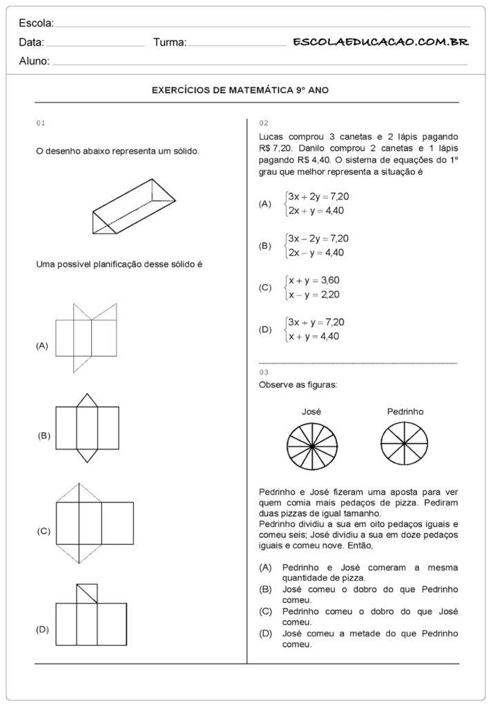 Atividades de Matemática 9º ano responda as questões