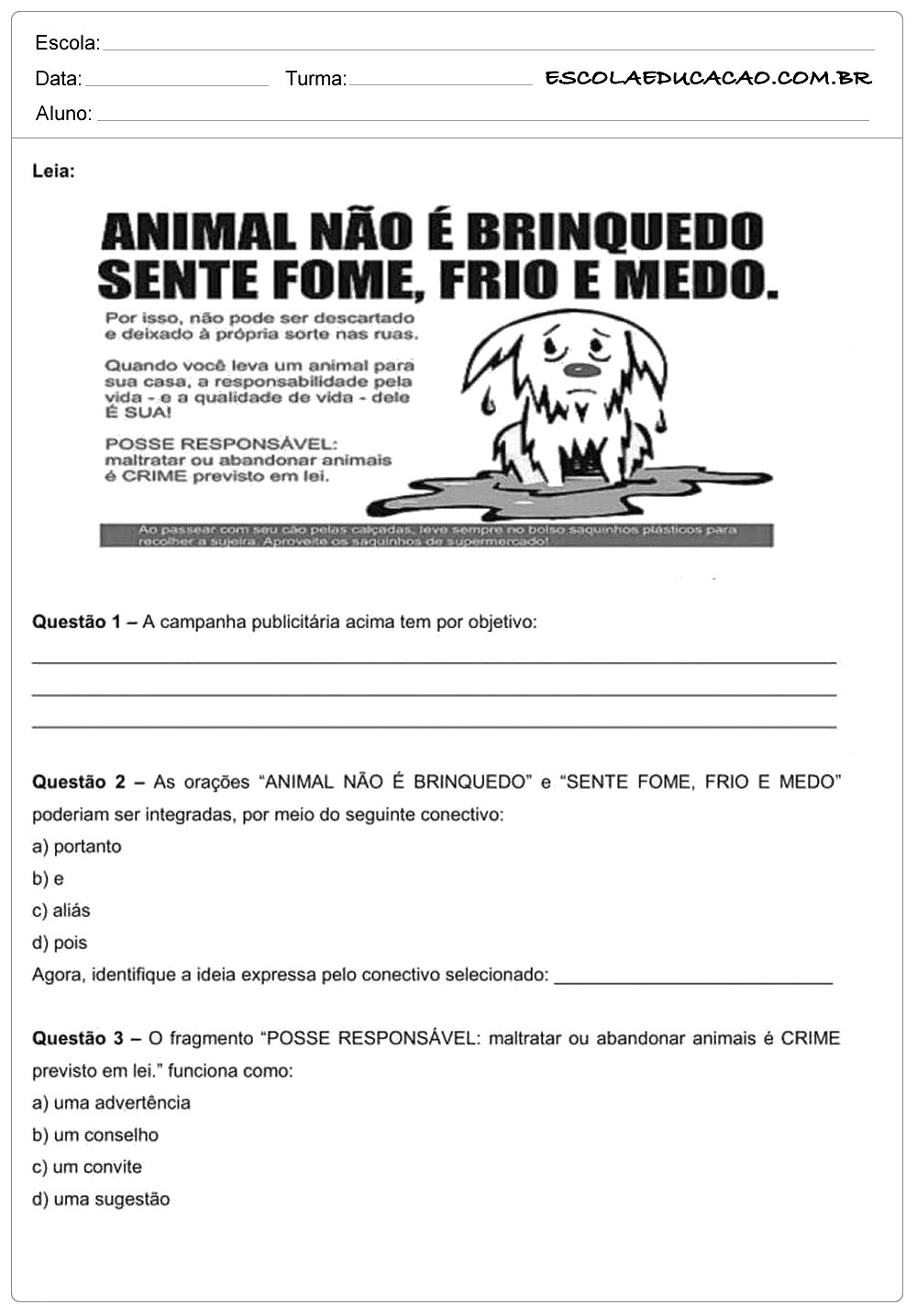 Atividades de interpretação de texto-6º ano animal não e brinquedo