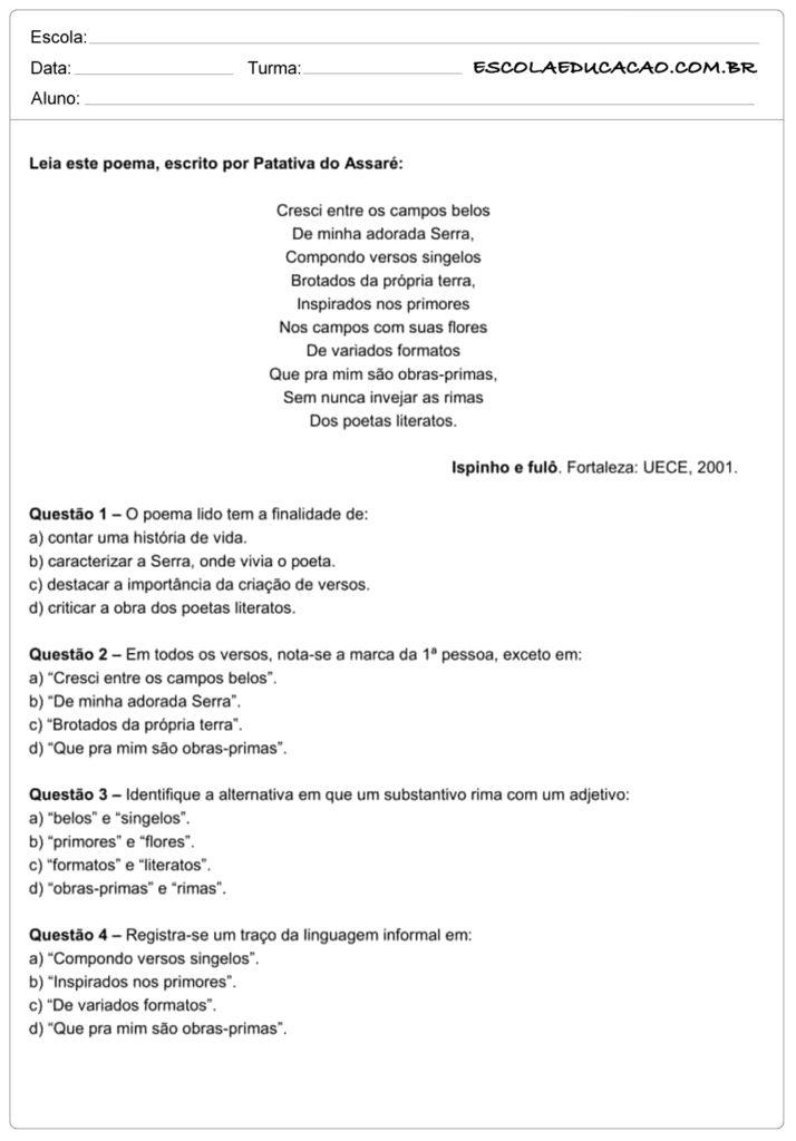 Atividades de interpretação de texto 7º ano leia o poema