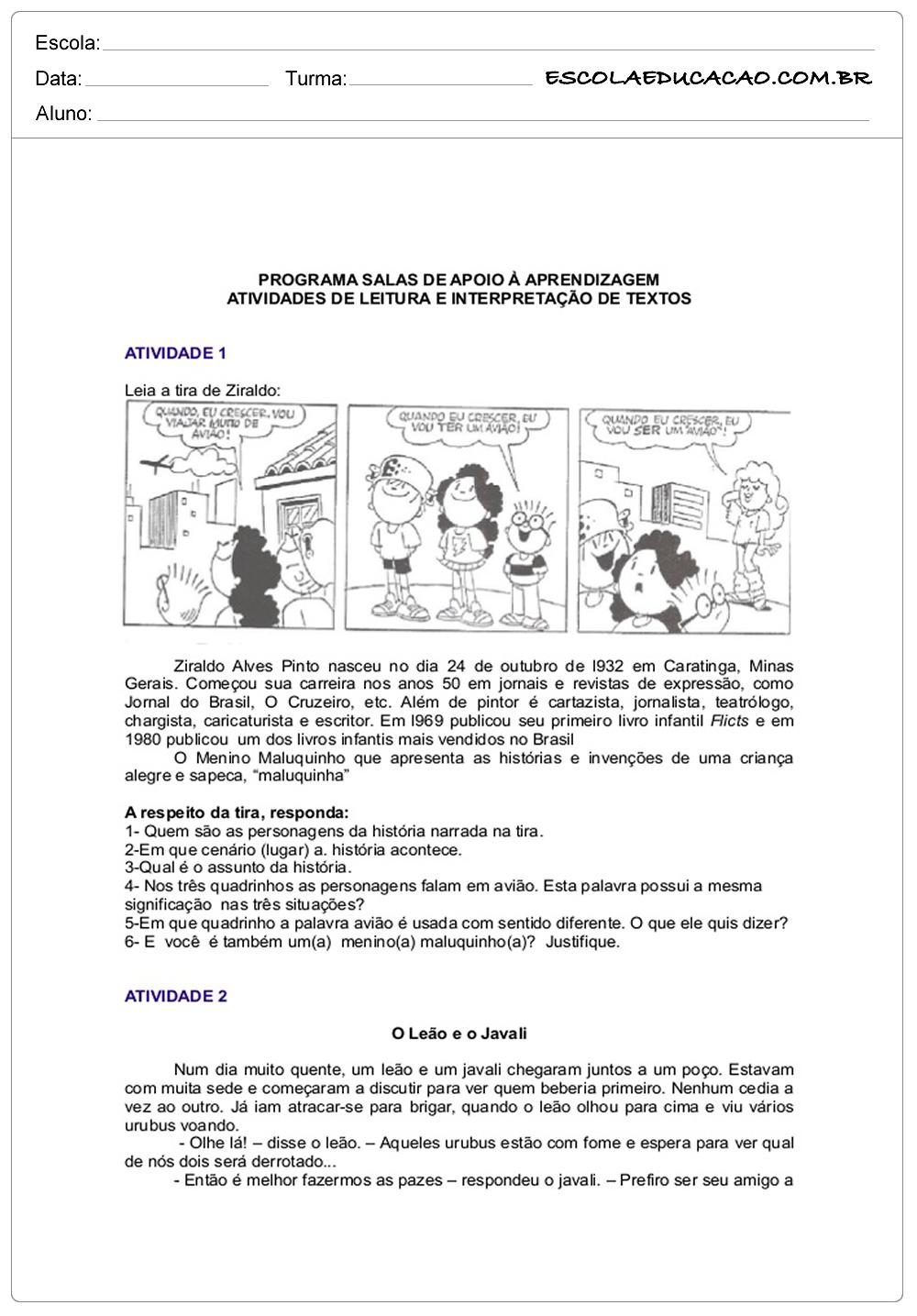 Atividades de interpretação de texto 6º ano