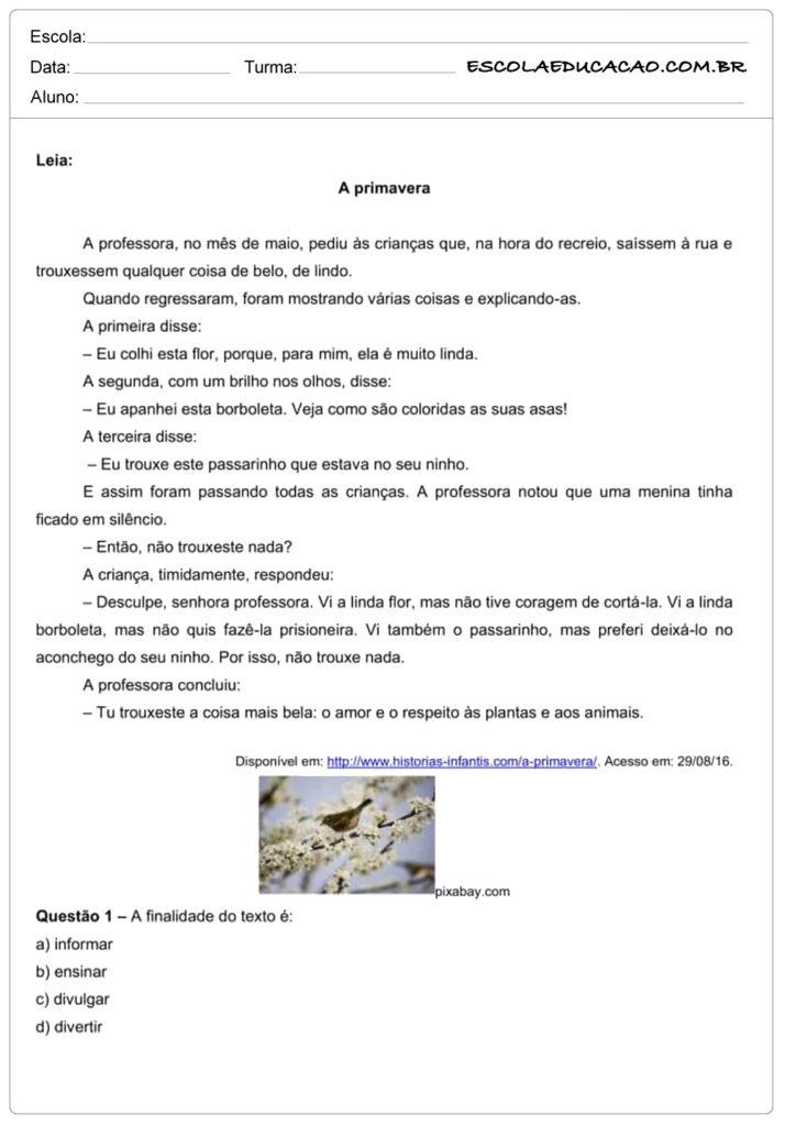 Atividades de interpretação de texto 7º ano a primavera