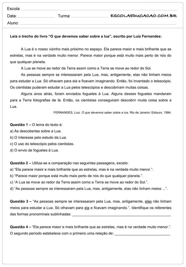 Atividades de interpretação de texto 7º ano leia o trecho