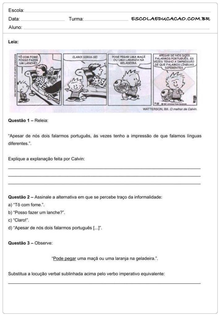 Atividades de interpretação de texto 8º ano leia