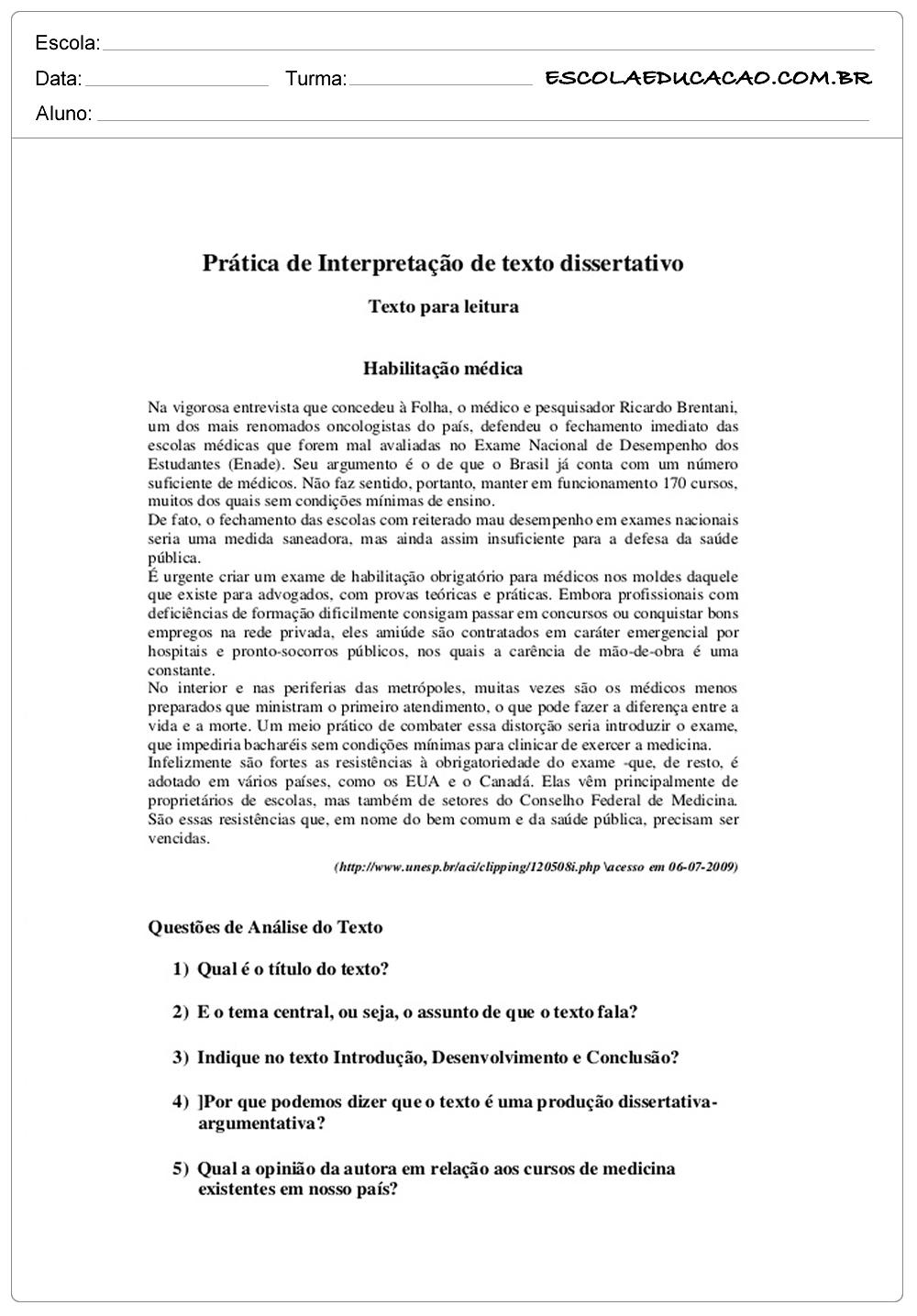 Atividades de interpretação de texto 9º ano habilitação medica