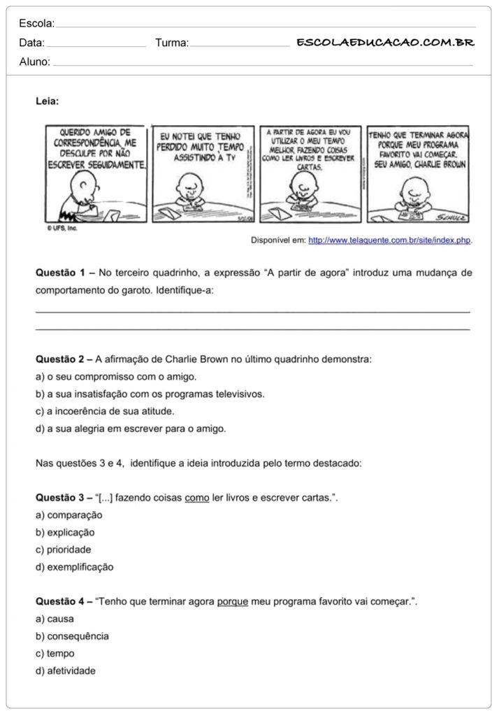 Atividades de interpretação de texto 9º ano leia