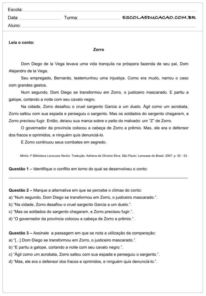 Atividades de interpretação de texto 9º ano zorro