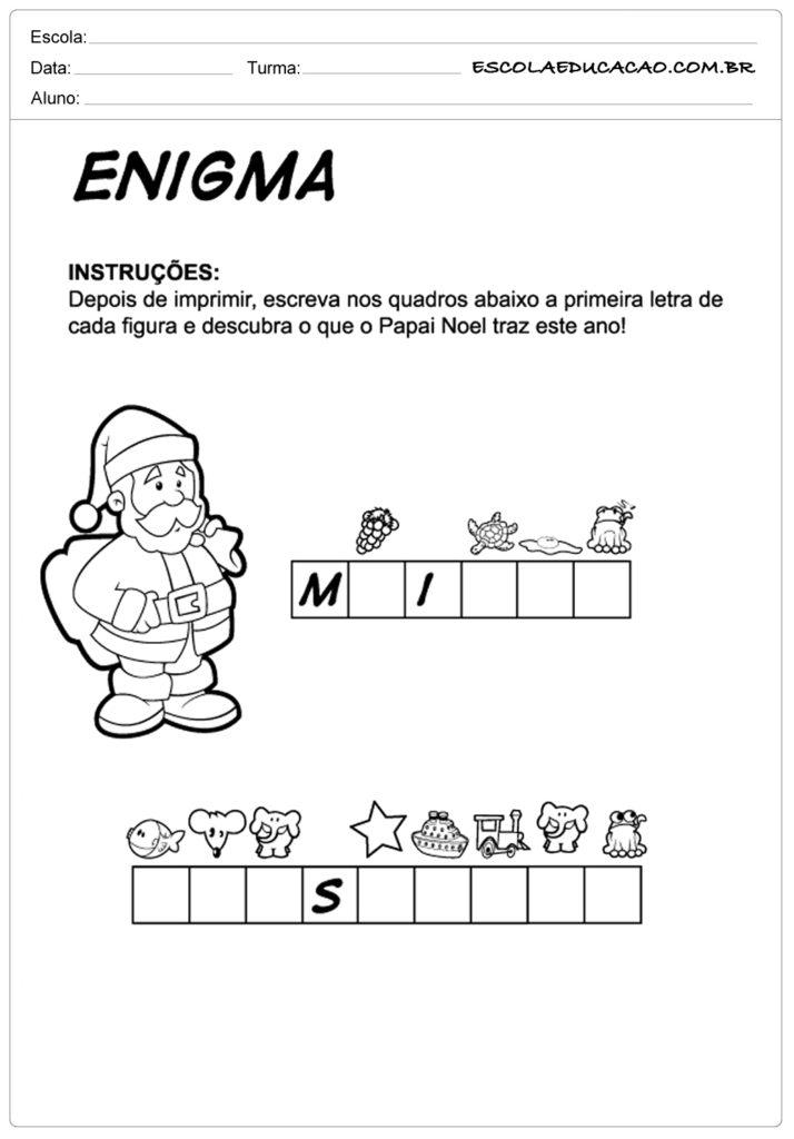 Atividades de natal na educação infantil enigma