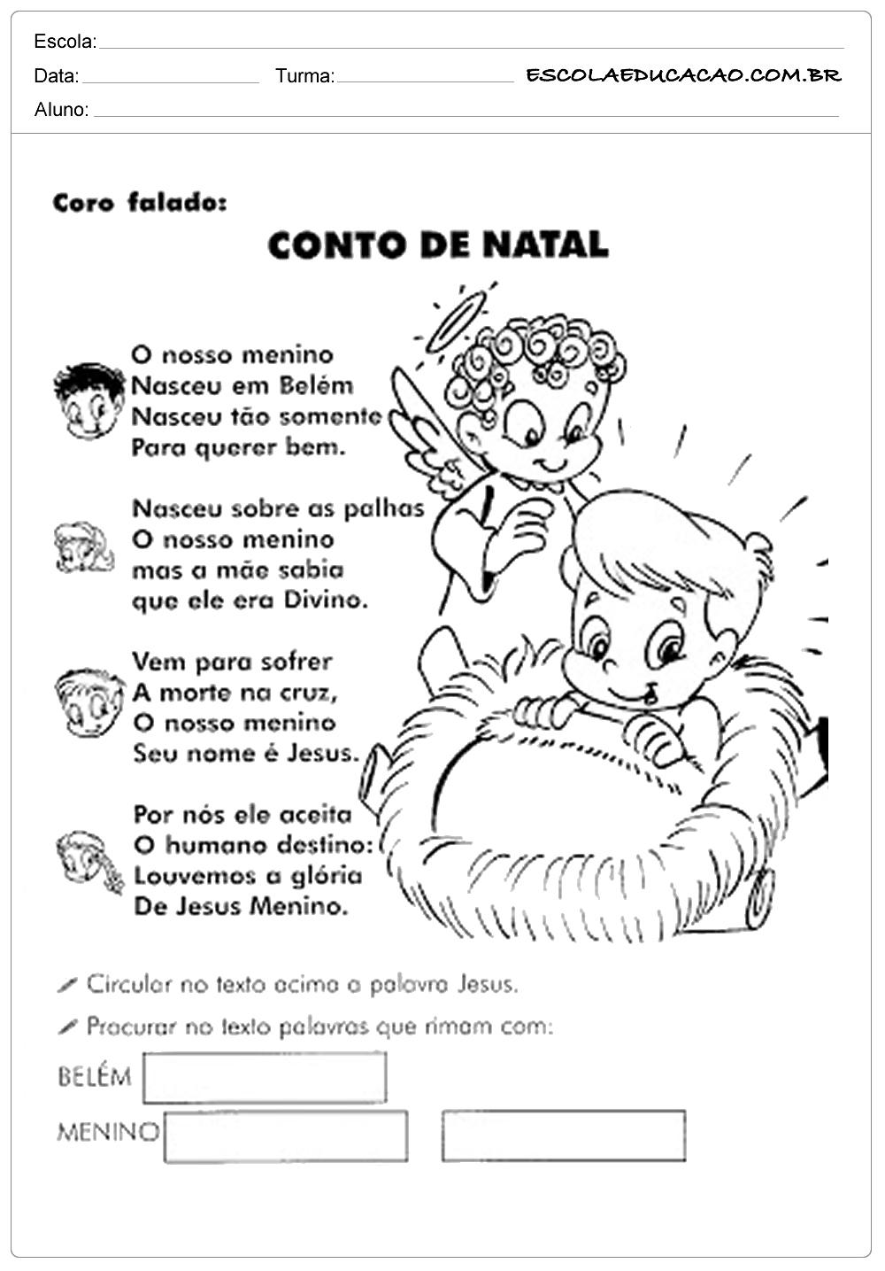 Atividades de natal para imprimir conto de natal