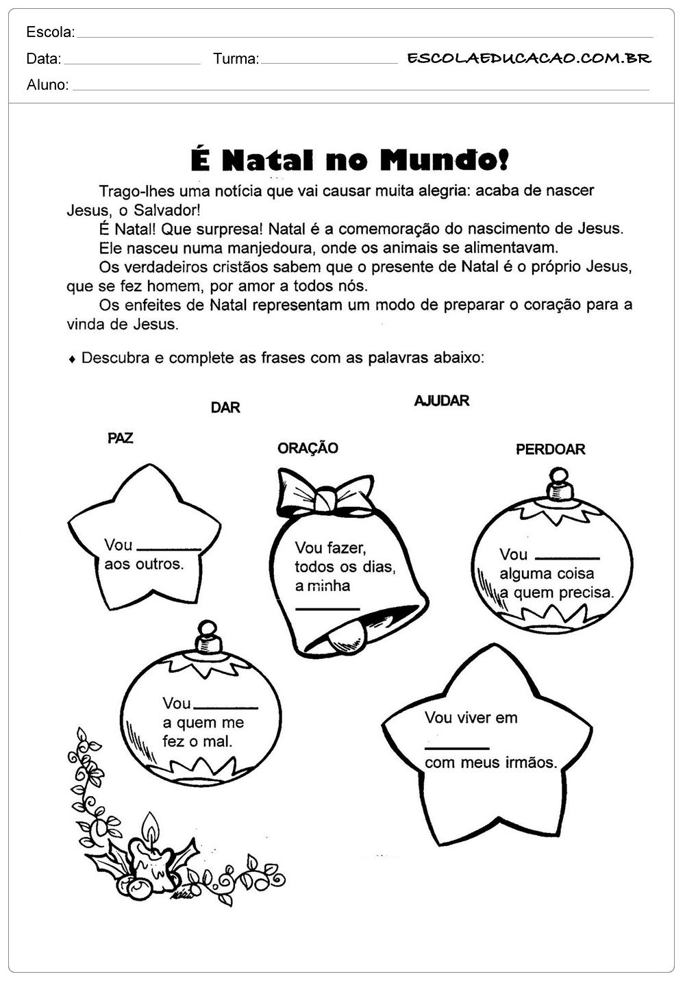 Atividades de natal para imprimir natal no mundo