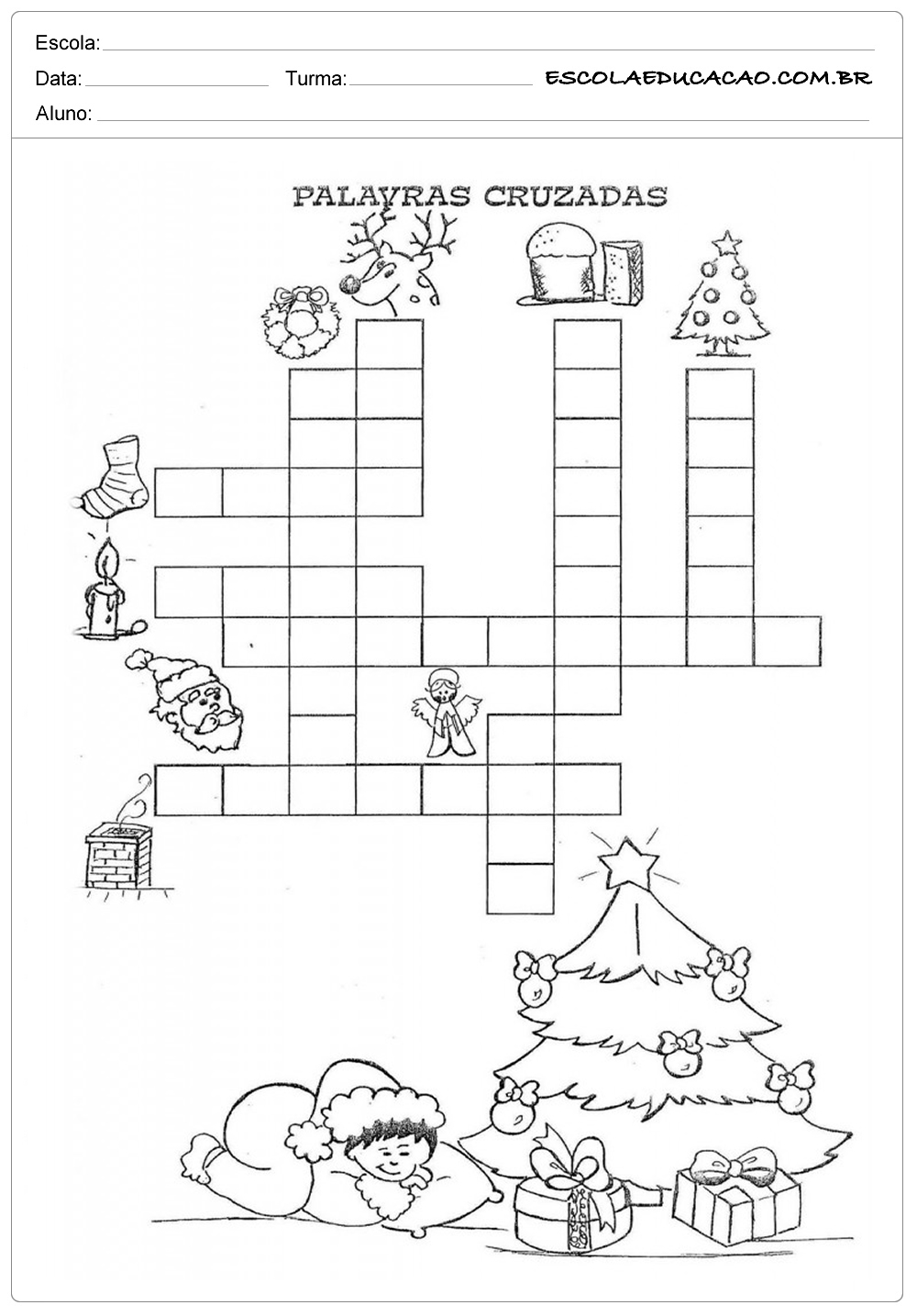 Atividades  de natal para imprimir palavras cruzadas