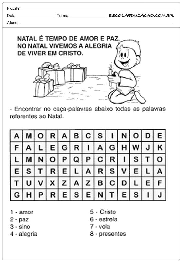Atividades natal ensino fundamental caça-palavras