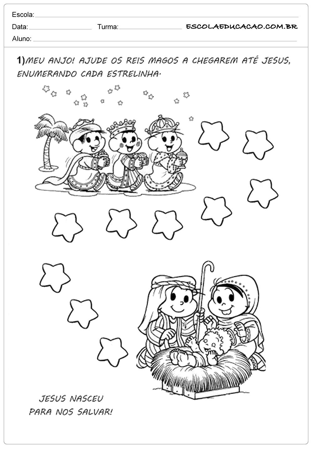 Atividades natal ensino fundamental enumerando as estrelinhas