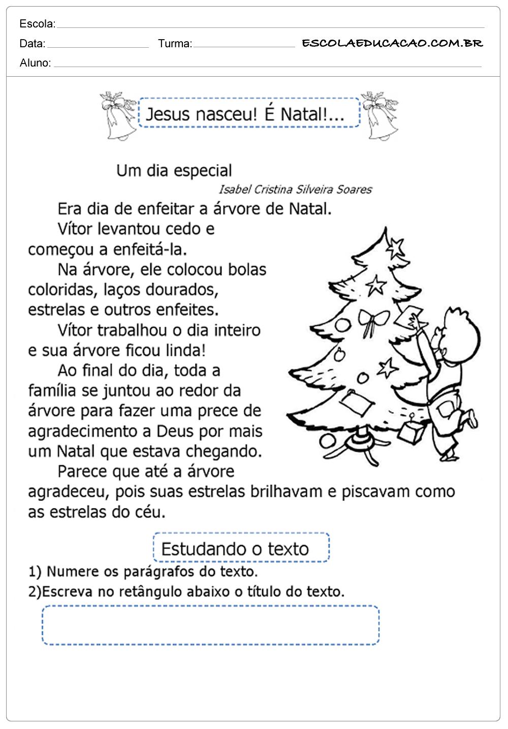 Atividades natal ensino fundamental Jesus nasceu
