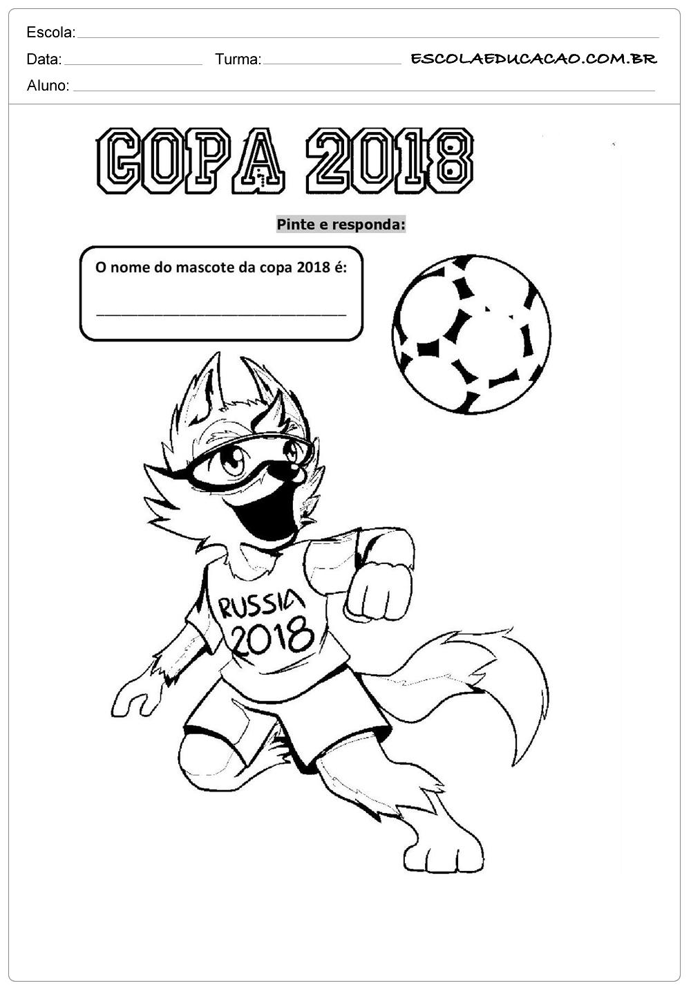Atividades Sobre A Copa Do Mundo Para Colorir Nome Do Mascote