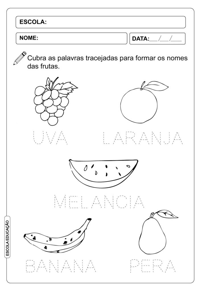 Atividade Pontilhada - Nome das Frutas