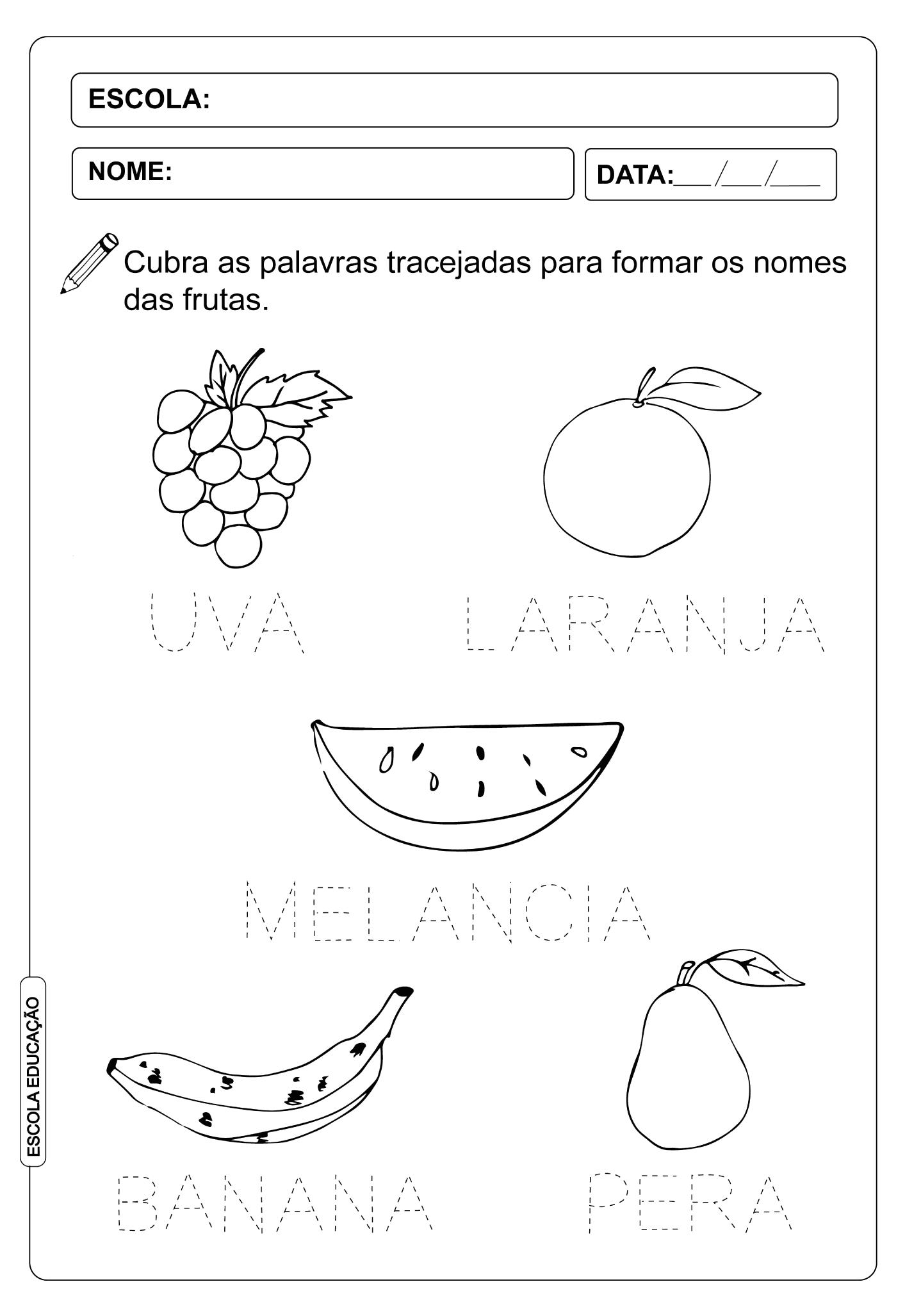 Atividade Pontilhada – Nome das Frutas