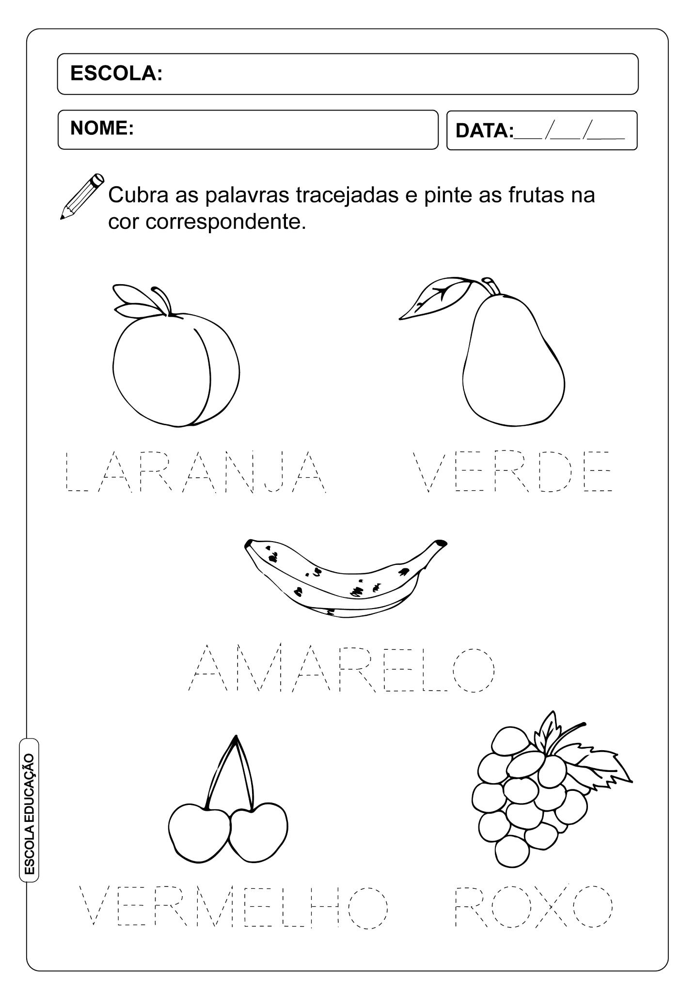 Atividade Pontilhada – Frutas e Cores