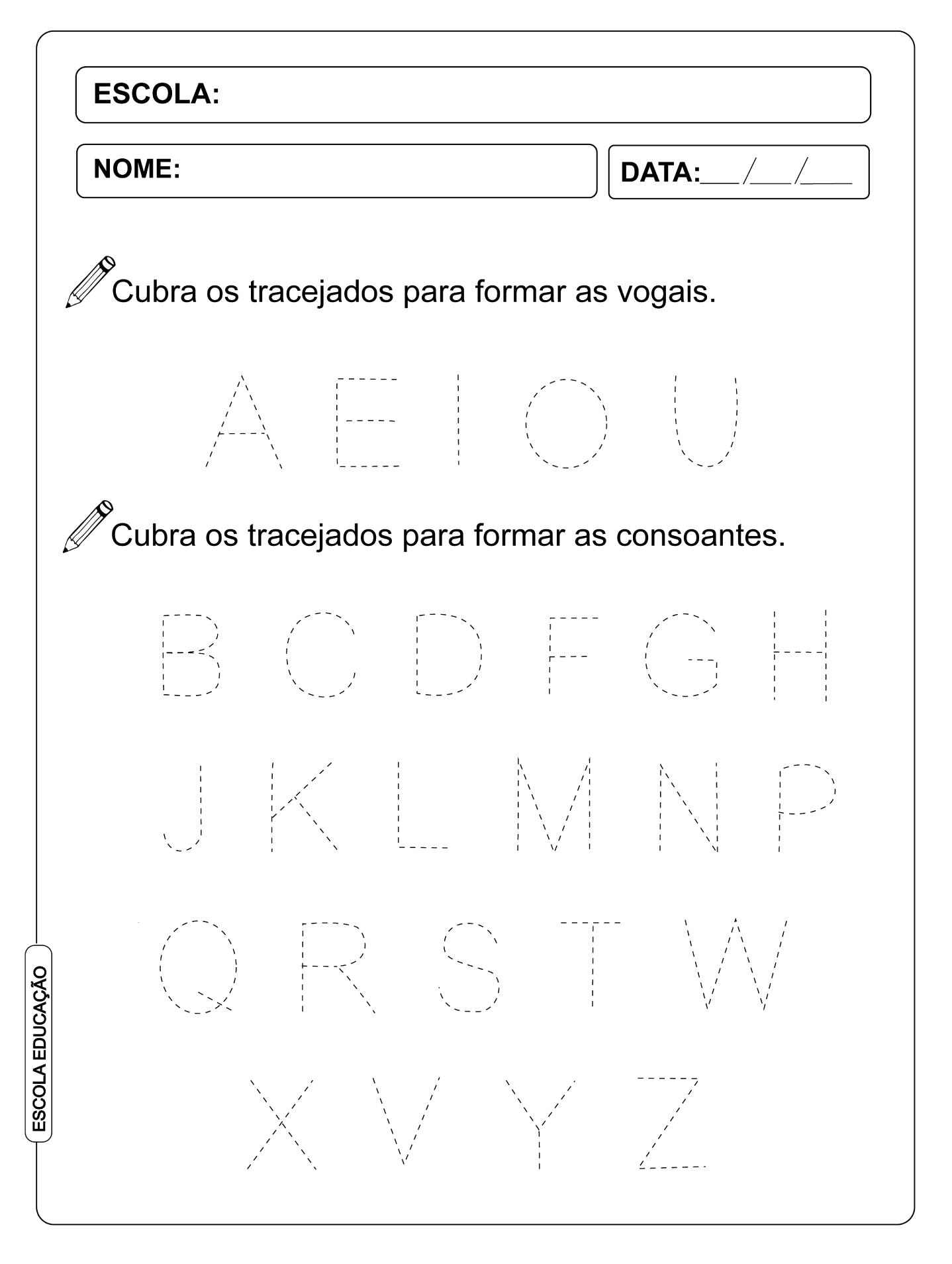 Atividade Pontilhada – Alfabeto Pontilhado