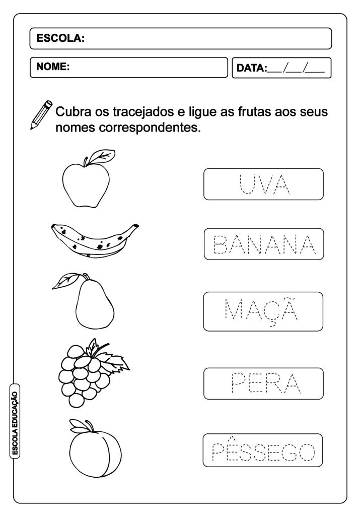 Atividade de Alfabetização - Atividade pontilhada de frutas