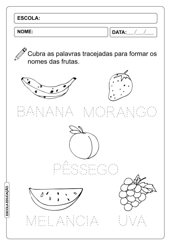 Atividade Pontilhada - Aprendendo o nome das frutas