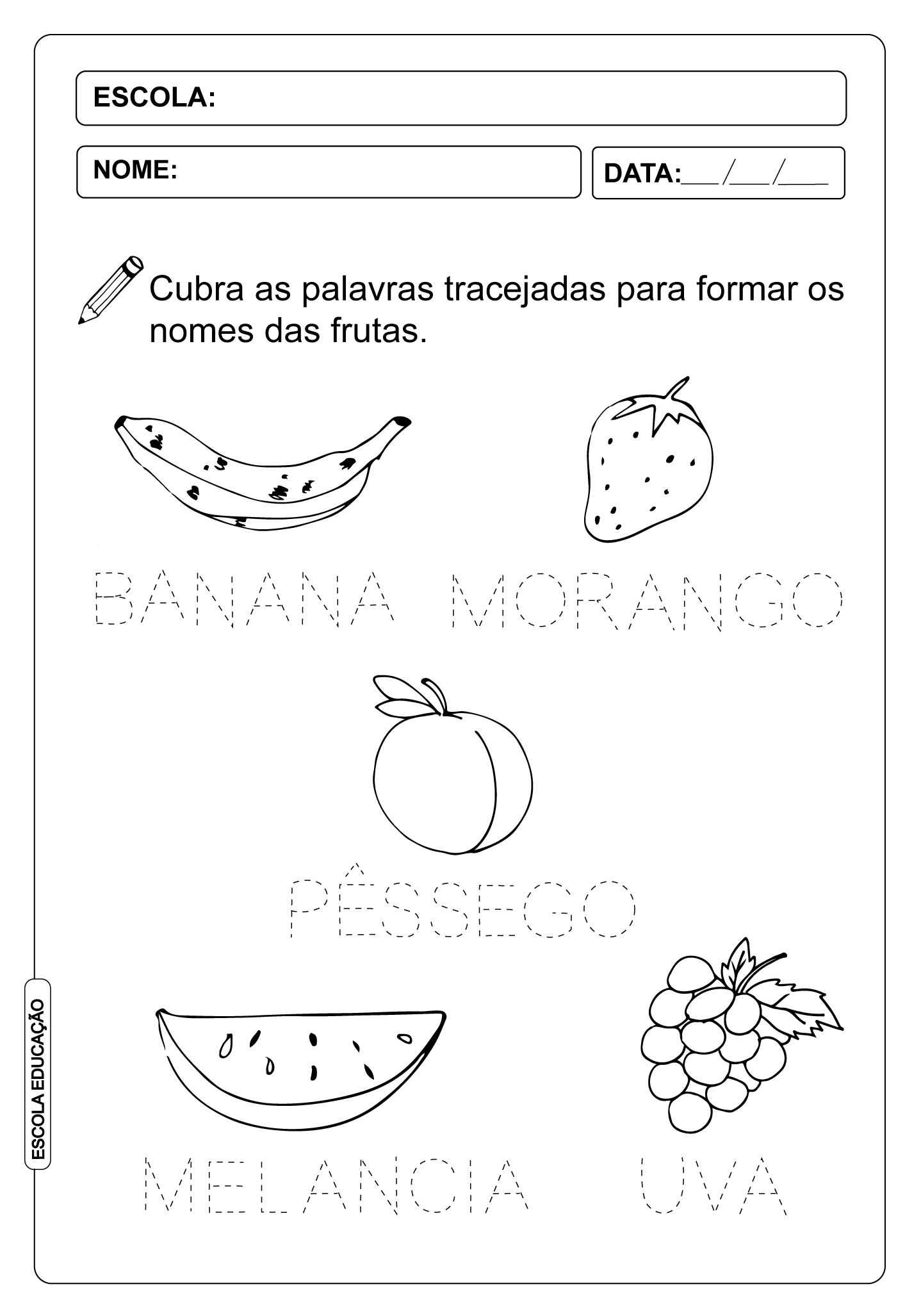 Atividade Pontilhada – Aprendendo o nome das frutas