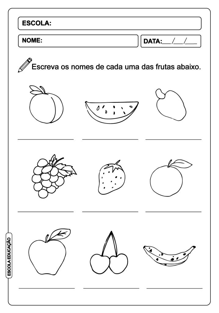 Atividade de Alfabetização - Nome das Frutas