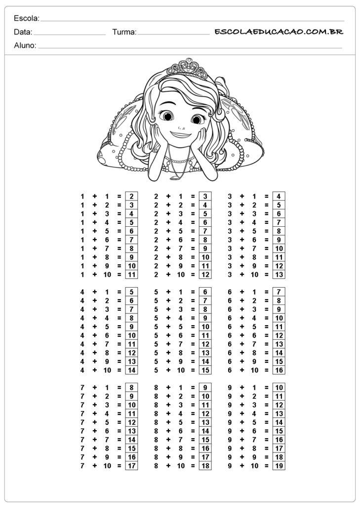 Atividade de tabuada para imprimir adição de princesa