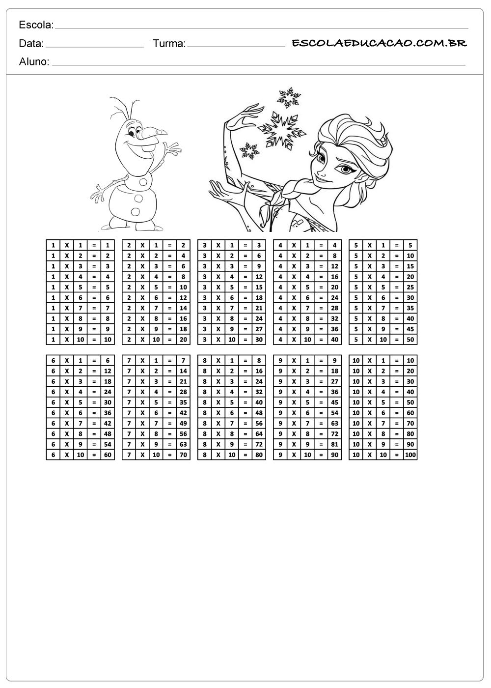 Atividade de tabuada para imprimir multiplicação da Frozen