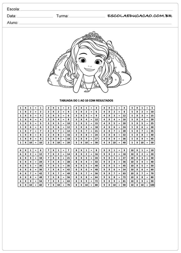 Atividade de tabuada para imprimir multiplicação de princesa