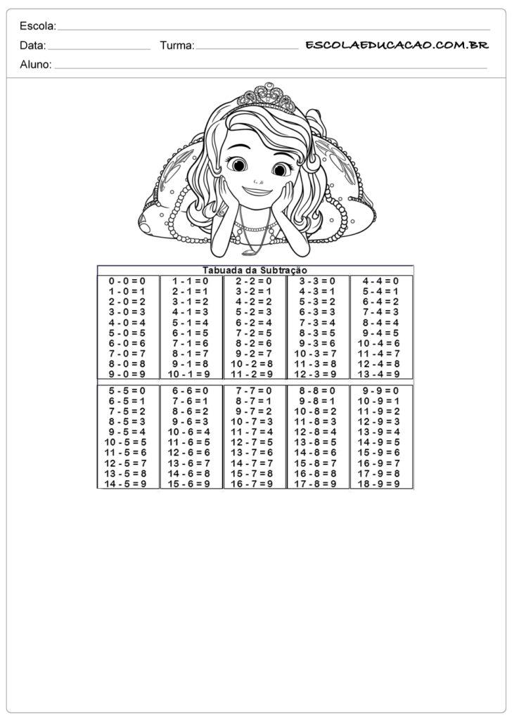 Atividade de tabuada para imprimir subtração de princesa