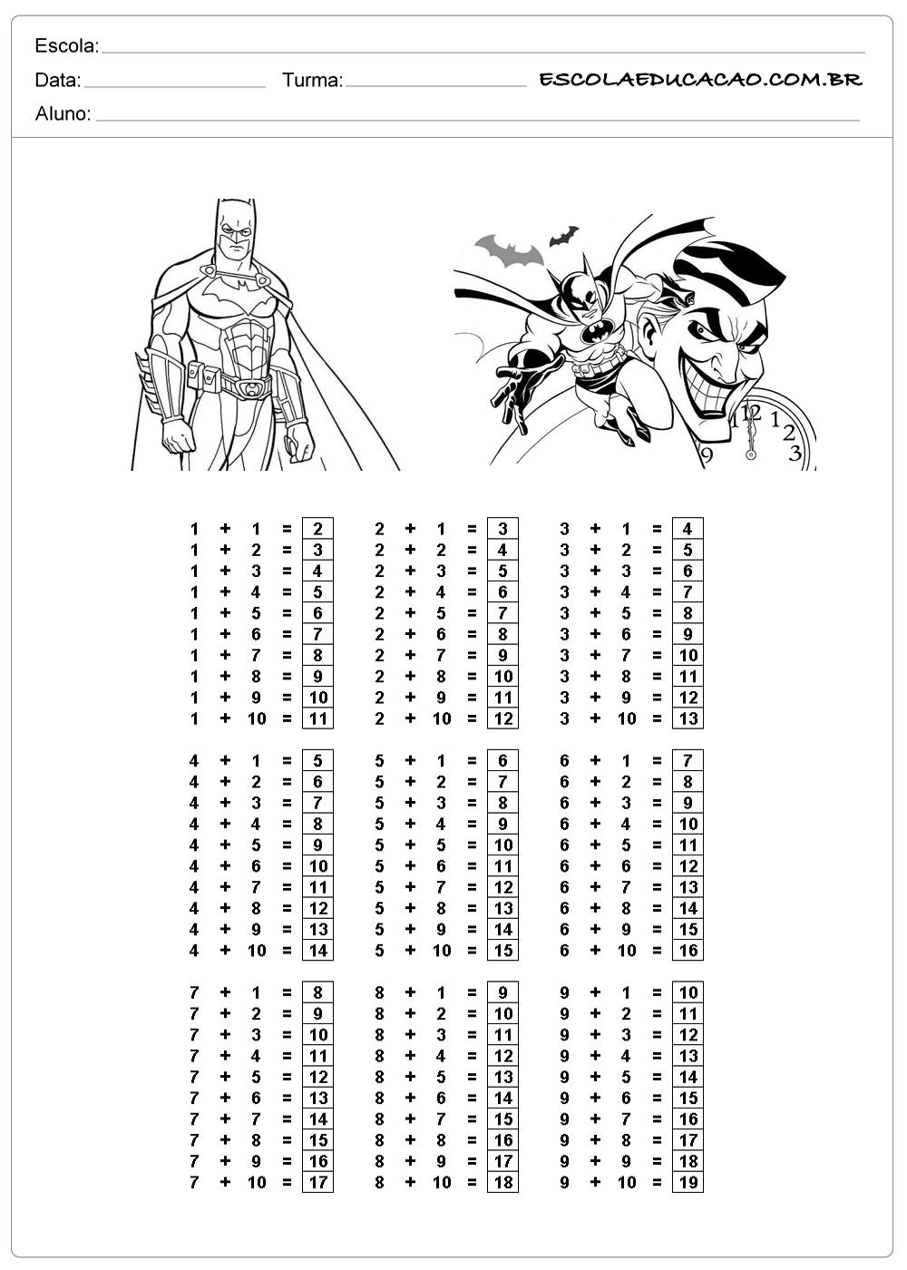 atividade de tabuada para imprimir tabuada de adição do Batman respondida