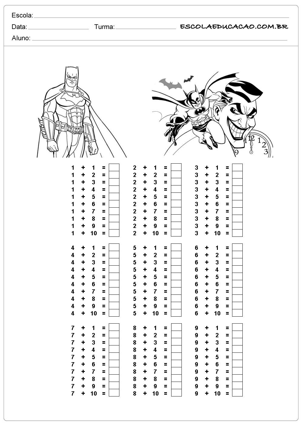 Atividade de tabuada para imprimir tabuada de adição do Batman