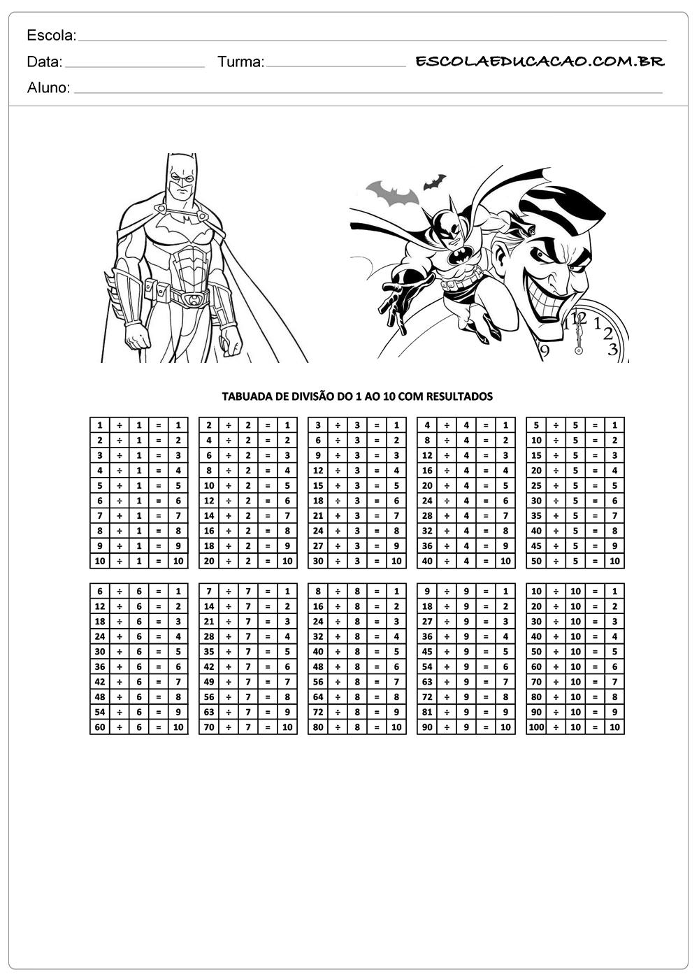 Atividade de tabuada para imprimir tabuada de divisão do Batman