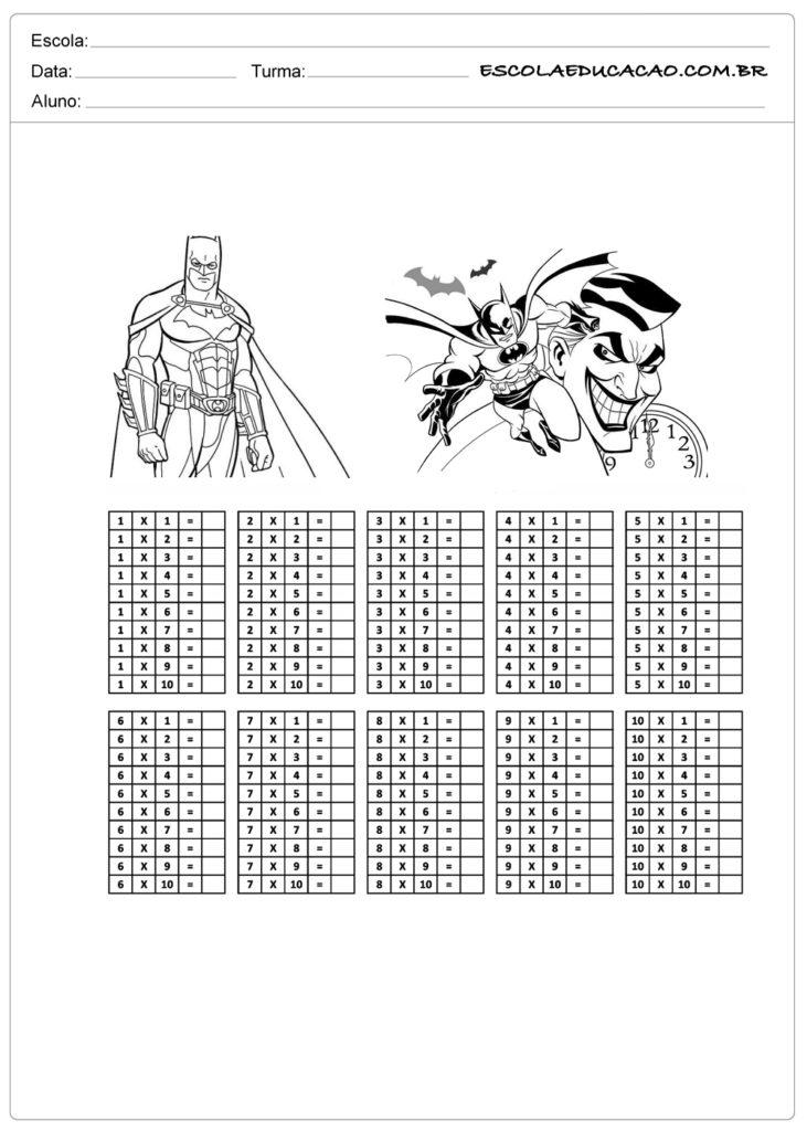 Atividade de tabuada para imprimir tabuada de multiplicação do Batman
