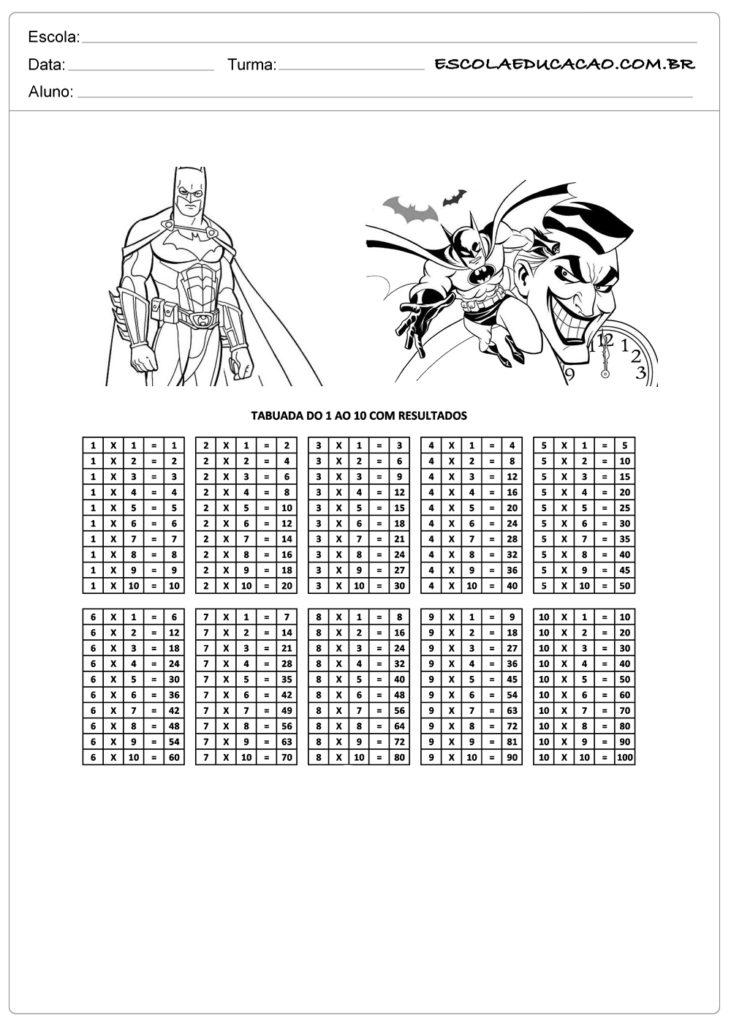 Atividade de tabuada para imprimir tabuada de multiplicação do Batman respondida