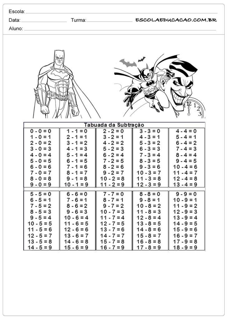Atividade de tabuada para imprimir tabuada de subtração do Batman