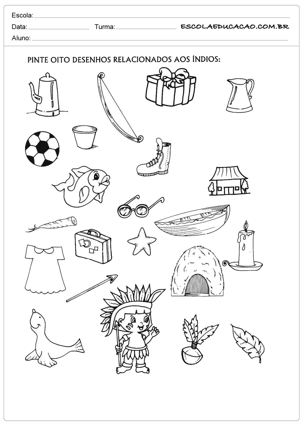 Atividade Dia Do Indio Educacao Infantil Pinte Os Desenhos