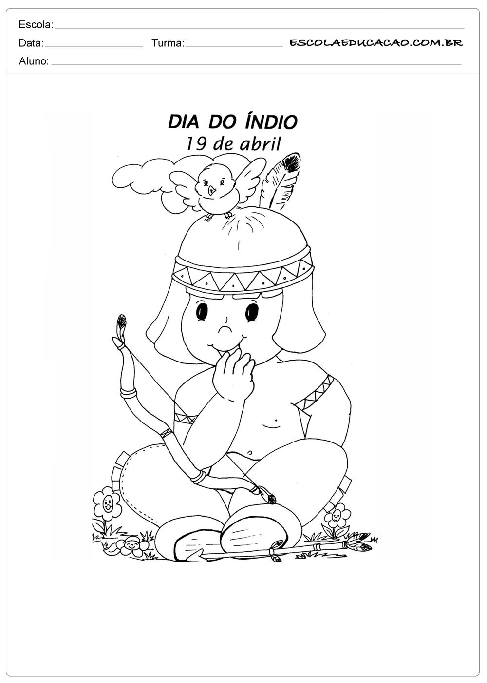 Atividade Dia Do Indio Educacao Infantil Vamos Colorir Escola