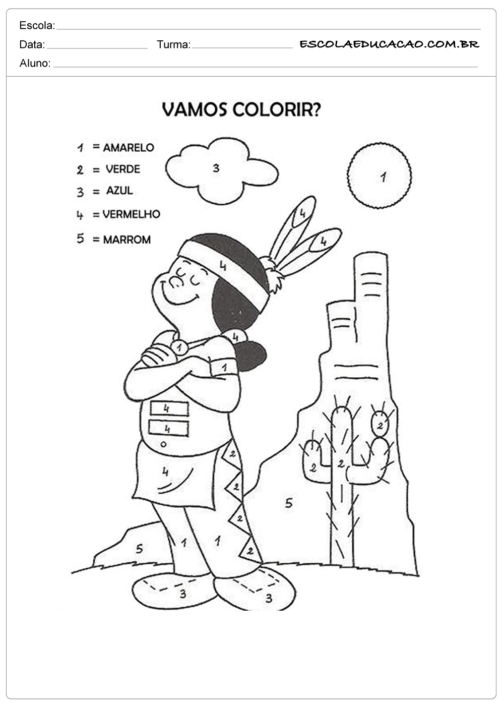 Atividade Dia Do Indio Vamos Colorir Escola Educacao