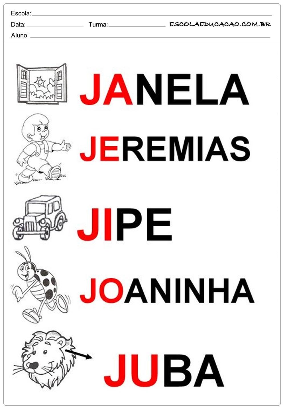 Atividades educativas com a letra J