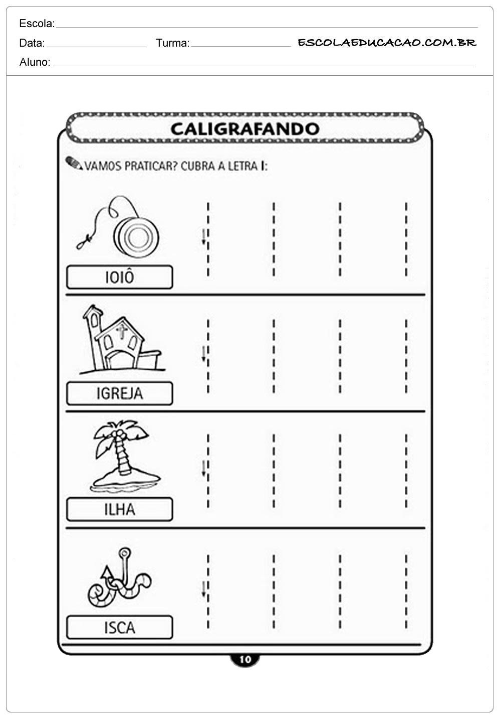 Atividade Letra I – Caligrafando